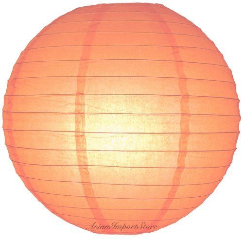 """12"""" Peach Even Ribbing Round Paper Lanterns - (10 Pack) by Asian Import Store, Inc.. $12.00. Dimensions: 12"""" dia. Each pack includes 10 x Paper Lanterns. (All lanterns sold without lighting, lighting options must be purchased separately). Peach round paper lanterns with a even wire ribbing and is held open with a wire expander.. Peach round paper lanterns with a even wire ribbing. Lantern is held open with a wire expander.  Dimensions: 12"""" dia  (All lanterns sold withou..."""