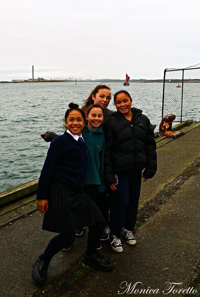 Students from Te Wharekura O Arowhenua eagerly await the arrival of the Haunui Waka in Bluff.  April 2014.