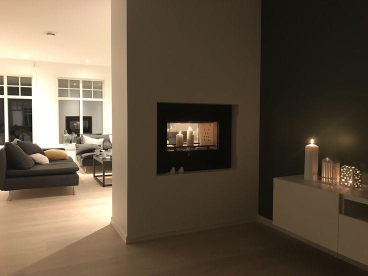 Peis tunnel kahler lyshus fireplace modern scandinavian minimalistisk balanse eik söderhamn