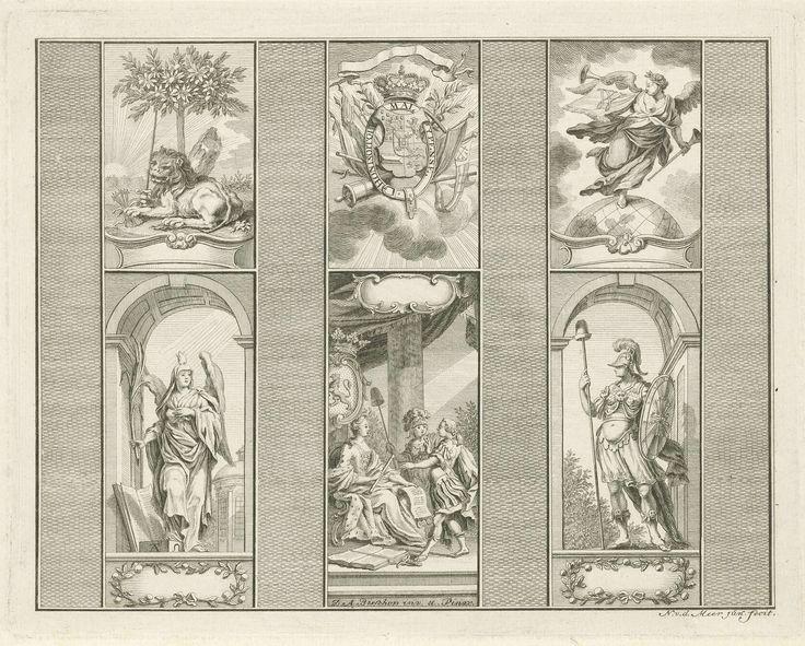 Noach van der Meer (II) | Decoraties bij het huis van de heer Bisschop te Rotterdam, 1766, Noach van der Meer (II), 1776 | Decoraties aangebracht bij het huis van de heer Dirk Anthony Bisschop te Rotterdam. Zes panelen met allegorische voorstellingen en emblemen. Linksboven de Hollandse Leeuw met de pijlenbundel en het zwaard, midden boven het wapenschild van Willem V. Rechtsboven de Faam met een banier met de letter W. Linksonder de personificatie van het Geloof en rechtonder de Kracht…