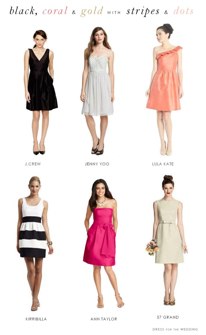 Kate Spade Inspired Wedding Party Attire via @dressforwedding | Striped and Dotted Bridesmaid Dresses, Black and Pink Bridesmaid Dresses