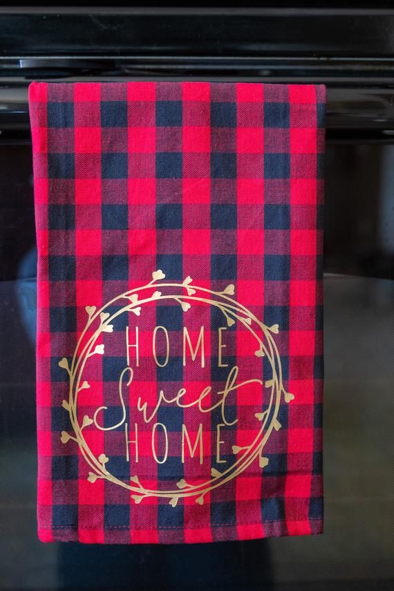 Home Sweet Home Towel Plaid Kitchen Towels Fall Buffalo Check Decor Autumn Kitchen Decor F Cricut Christmas Ideas Farmhouse Bathroom Accessories Tea Towels