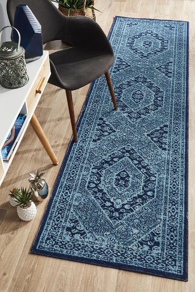 Whisper Vision Blue Runner Rug Powerloomed For Precision And Durability This Rug Is Also Tip Sheared By Hand To Give A Dis Rug Runner Vintage Persian Rug Rugs