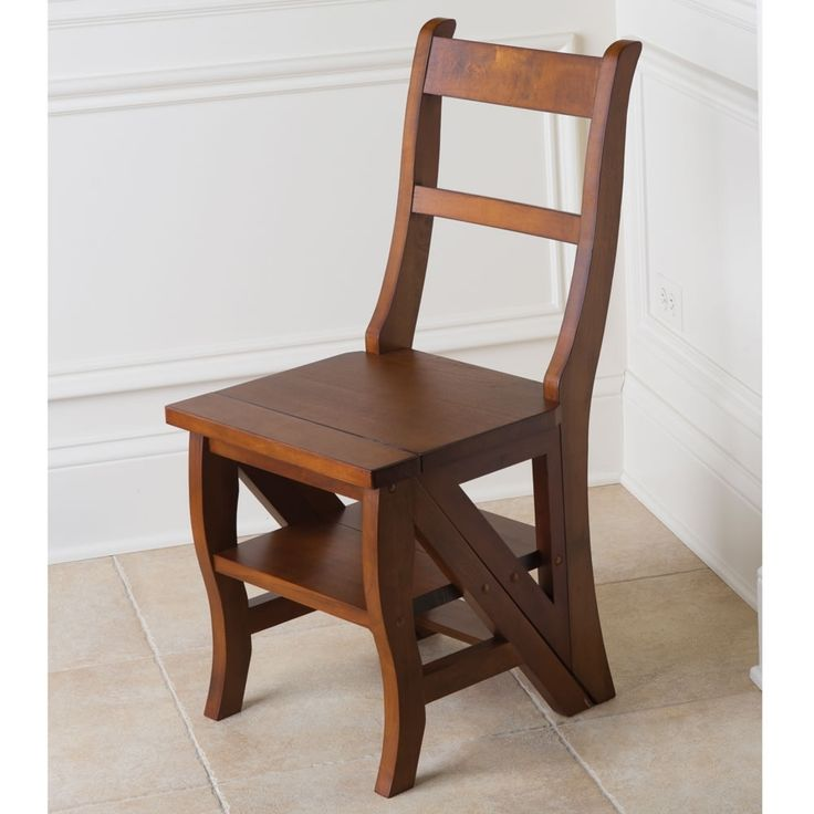 Antique Folding Library Ladder Chair