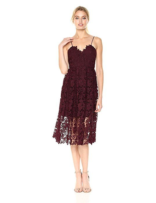 c1c6fe5cebeb Donna Morgan Women's Chemical Lace Spaghetti Strap Midi Dress, Scarlet Red,  0 at Amazon Women's Clothing store: