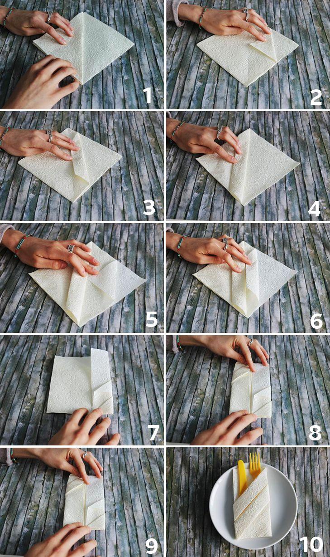 Diese hübsche Bestecktasche kannst du ganz einfach selber machen. Hier findest Du ganz viele easy Techniken zum Serviettenfalten ♥