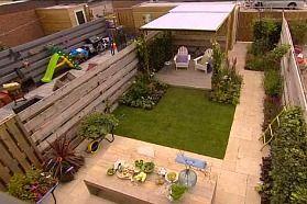 2 terrassen met gras, mogelijkheid voor ons zelf, leuk idee en realistisch! MOOI!