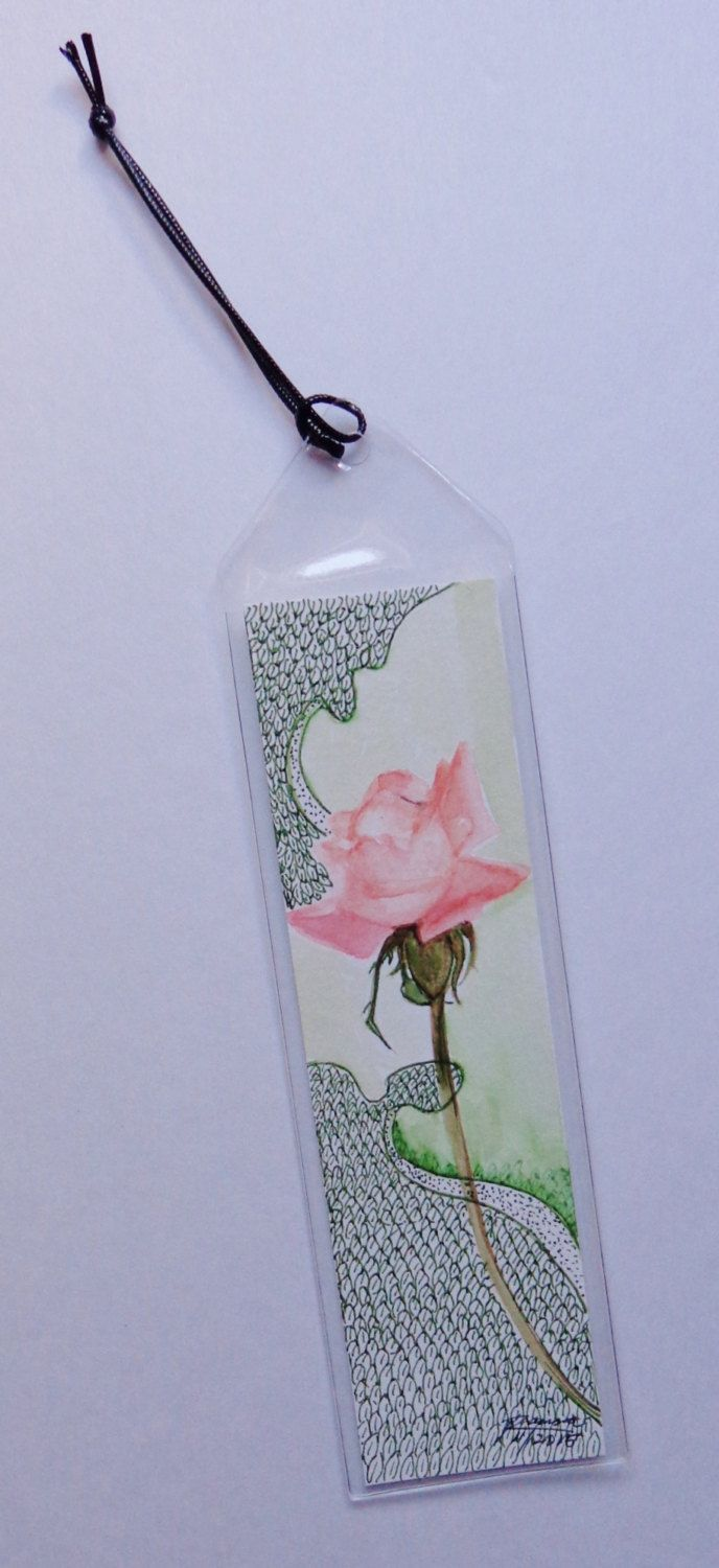 Original Watercolor Bookmark - Elegant Peach Rose by RaissasArtmarket on Etsy