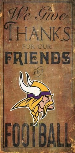 Minnesota Vikings Wood Sign We Give Thanks Wall Decor