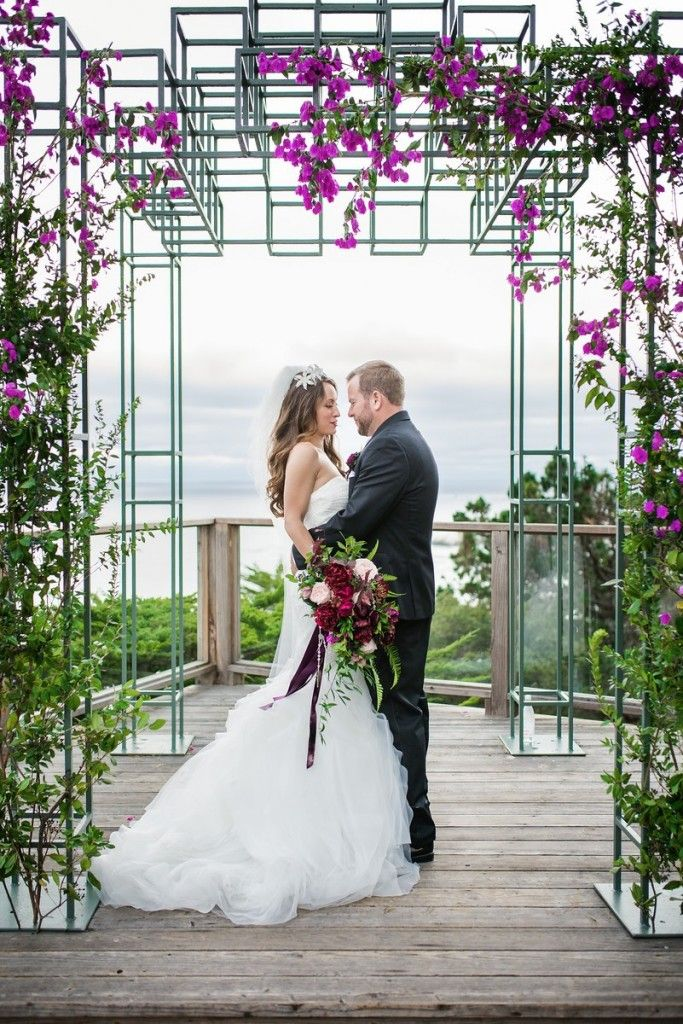 Blooming Bougainvillea Wedding Arch | Floral Design by Gavita Flora | Photography by Third Element Photography | Venue: Hyatt Carmel Highlands