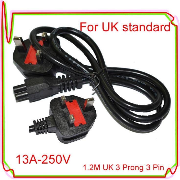 1.2M UK 3 Prong 3 Pin AC 13A 250V AC Laptop Power Cord