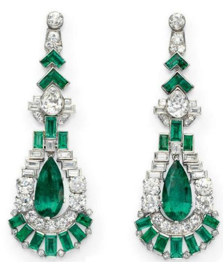 Art deco earrings ca. 1925: Emerald Earrings, Art Deco Earrings, Pear Shaped Emerald, Deco Jewelry, Artdeco