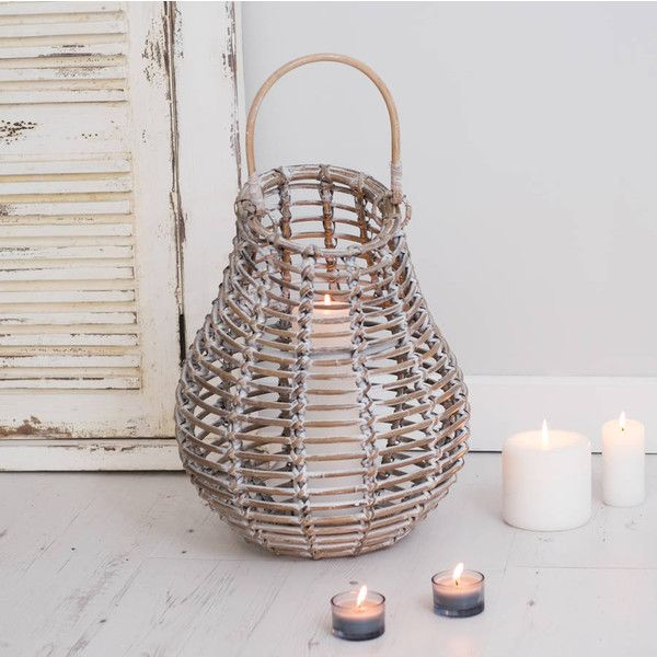 Za Za Homes White Distressed Hurricane Lantern Bamboo (£45) ❤ liked on Polyvore featuring home, home decor, candles & candleholders, bamboo home decor, handmade home decor, white home decor, white home accessories and bamboo lantern