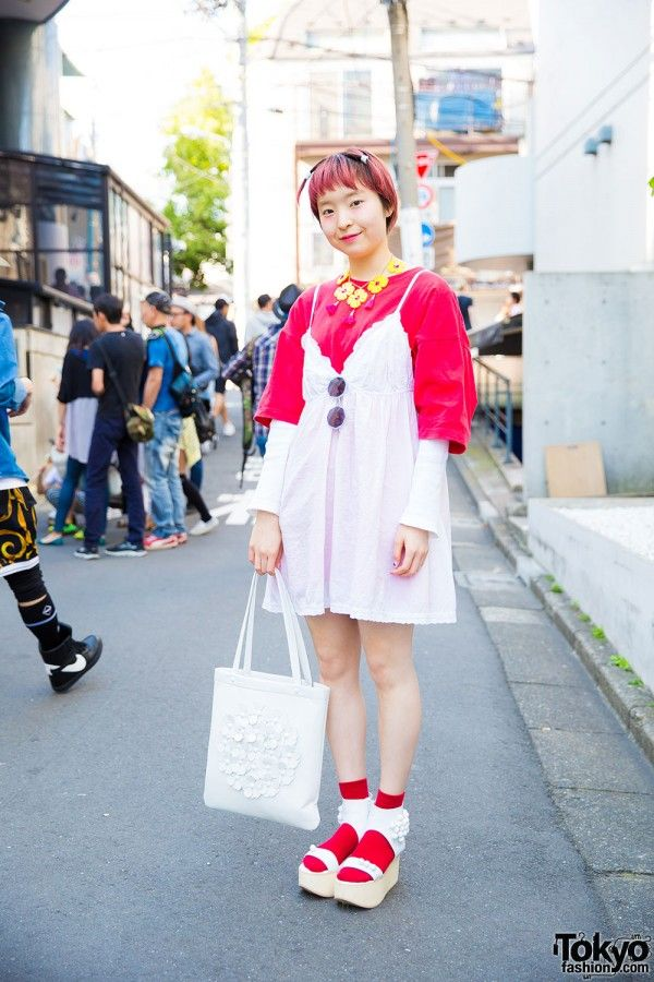 Harajuku Girl in Vintage Dress Over T-Shirt