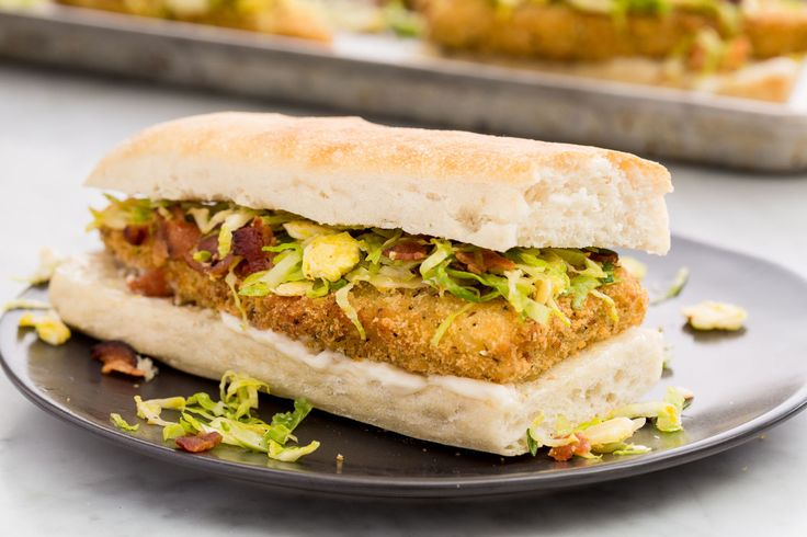 Gorton's Parmesan-Crusted Cod Sandwiches with Bacon-Brussels Sprout Slaw   - Delish.com