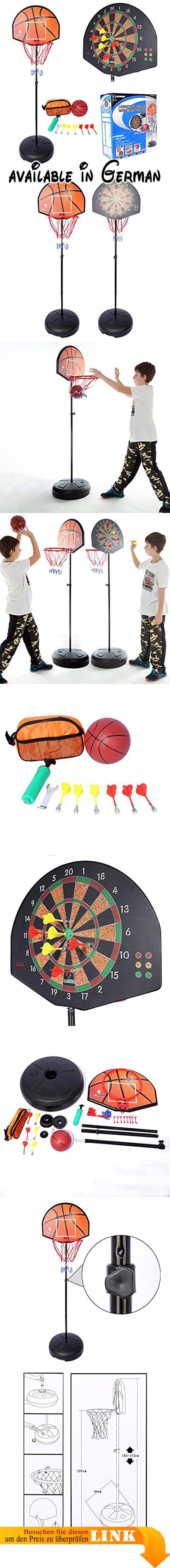 Dartboard und Basketballständer, Teckpeak Basketballkorb mit Dartboard Dartscheibe Basketballanlage Korbanlage Höhenverstellbar. Material: Kunststoff + Metall,. Größe: Basketballkorb-48×38×3,5 cm, Base-(Dia): 44cm, Länge von Darts: 8.2cm, Basketball (Dia): 12.5cm. Dual-Zweck für Basketball und Darts Schießen, interessanter.. Einstellbare Höhe: 153-172cm--Geeignet für Kinder über 6-Jährige.. Bottom Basis muss hinzugefügt werden Sand und Wasser, um sein Gewicht