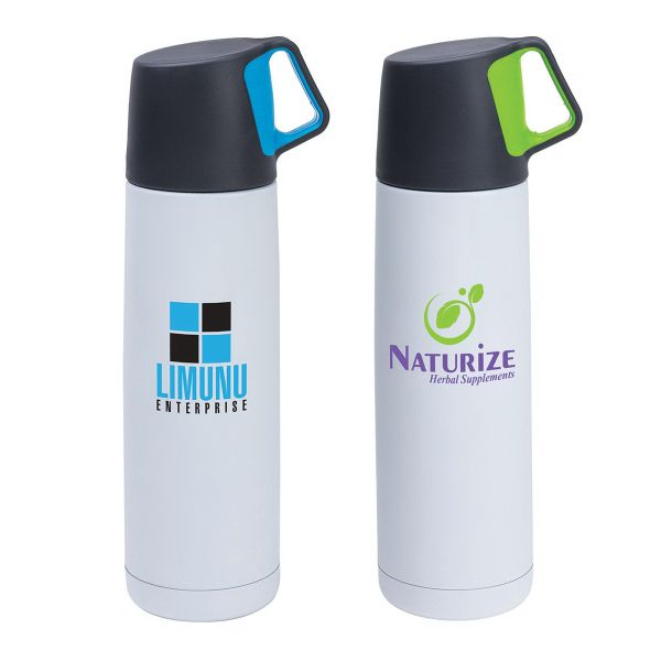 16.9 oz./500 ml 18/8 stainless steel vacuum flask features a popper-style leak proof closure and a cap that doubles as a cup. The cup has a color silicone grip.