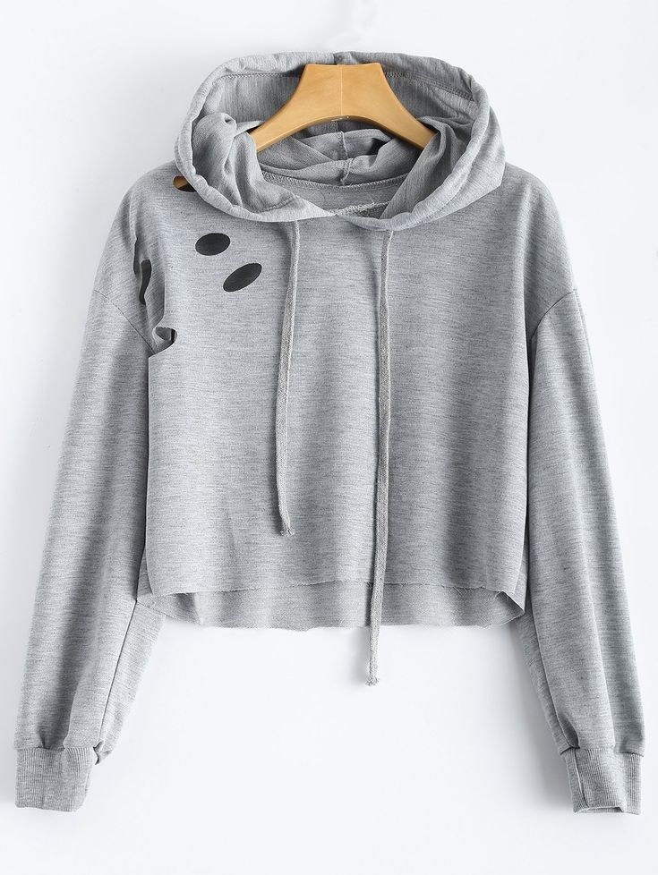 Cut Out Polka Dot Cropped Hoodie #CLICK! #clothing, #shoes, #jewelry, #women, #men