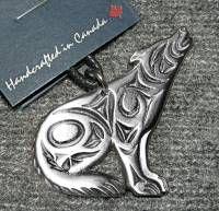 Wolf Necklace by Coast Salish artist Joe Wilson - pewter on cord #804