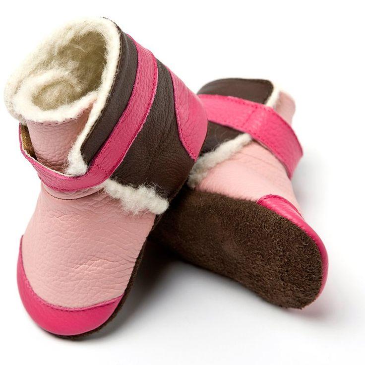 Liliputi® soft soled booties - Yukon Pink #softleatherbabyboots #babyboots #winter