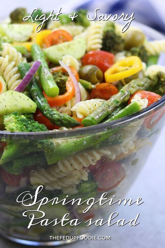 Springtime Pasta Salad recipe- A light & savory salad with a simple lemon vinaigrette, olives and fresh veggies. Perfect for potlucks & cold lunches. http://www.thefedupfoodie.com