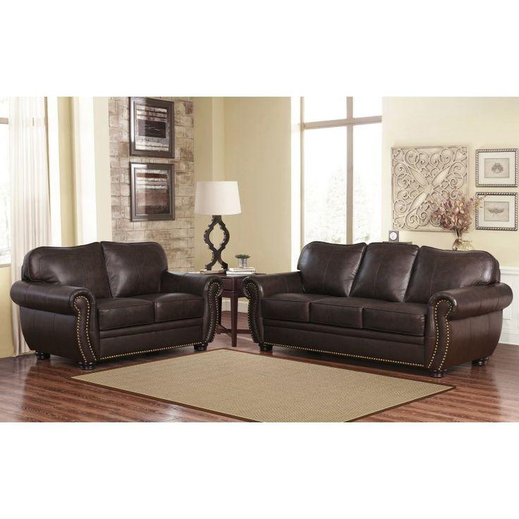 Abbyson Pearla Premium Italian Leather Sofa and Loveseat - CI-D320-BRN-3/2