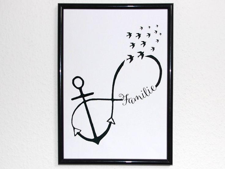 Originaldruck - Kunstdruck Anker Familie Unendlichkeit Liebe - ein Designerstück…