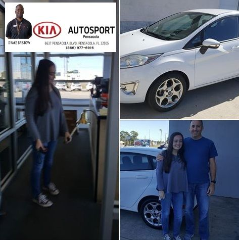 """Congratulations to Naval Officer Pipkin and his daughter on the purchase of their 2012 Ford Fiesta from Drake Bristow and KIA AutoSport of Pensacola. We Appreciate your Sacrifice and Service for our Nation!! Enjoy the vehicle and good luck at UWF Hanna!! We look forward to serving you with your sales and service needs in the future! Welcome to the KIA Family!! """"WE WANNA SEE YA IN A KIA"""" #KIAFAMILY"""
