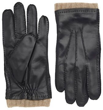 Black Brown 1826 Cashmere Lined Cuffed Leather Gloves