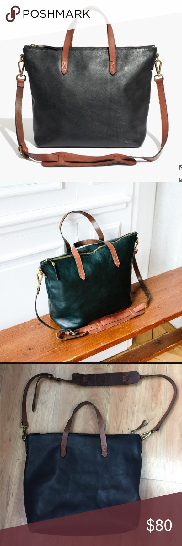 """Madewell Transport Satchel Adorable and very functional black leather bag with cognac details and straps. 11 4/5""""H x 15 2/5""""W (at top), 11 3/4""""W (at base) x 5 1/2""""D. 18"""" removable strap. Good condition- definitely some wear and minor scratches as seen in pictures but still a lot of life left! Madewell Bags"""