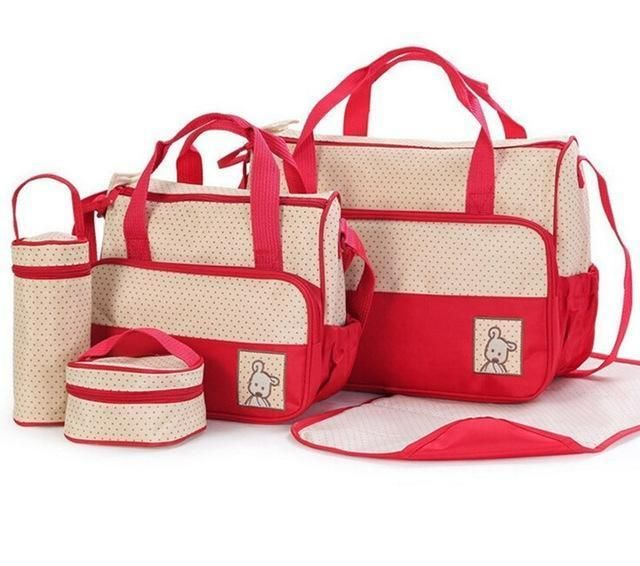 5pcs Baby Diaper Bag Suits For Mom Bottle Holder Mother Mummy Stroller Handbag