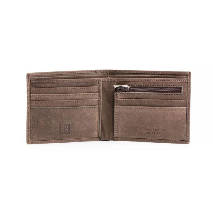 DUDU Portafoglio uomo pelle vintage MARRONE S. con portamonete zip e porta carte