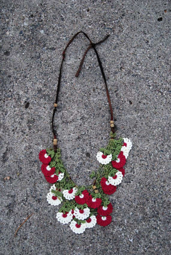 OOAK Lace bib necklace in cream and cranberry by Kisa Kollections, $78.00