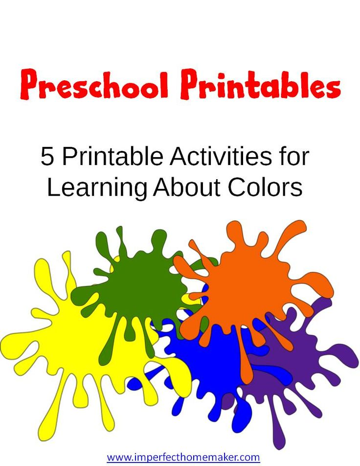free preschool printables learning colors