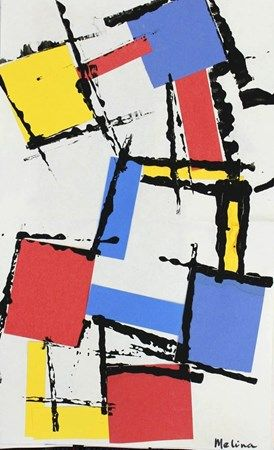 Mondrian. Cardboard edge for printing with black tempera on primary collaged squares and rectangles.