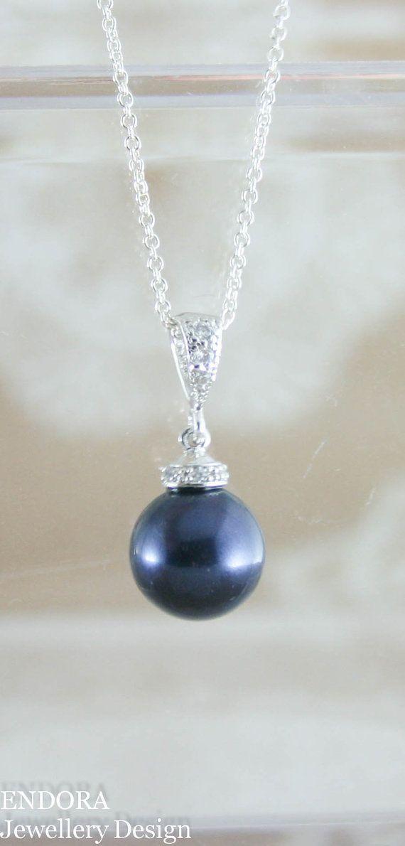 pearl pendant necklacenavy blue pearl pendant by EndoraJewellery