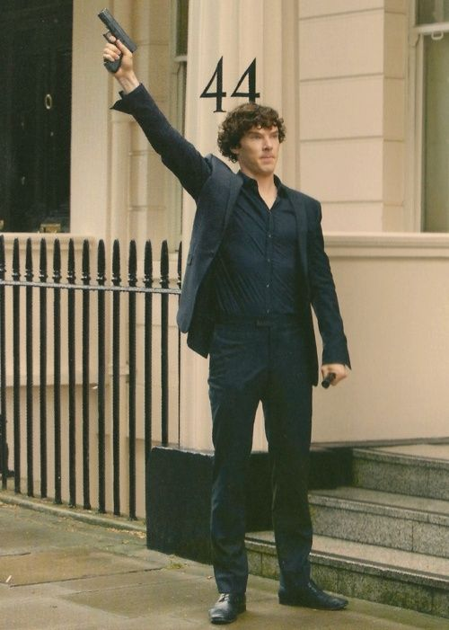 Sherlock calling the police. Actually this is quite similar to my plan should any emergency services be required. Except I'd have a phone and call over and over. So it's not like my plan really. At all.