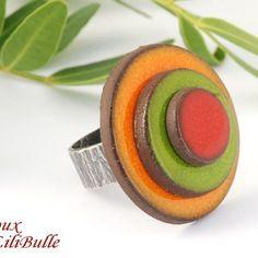 """Bague réglable en céramique   - """"les confettis"""" céramique multicolo"""
