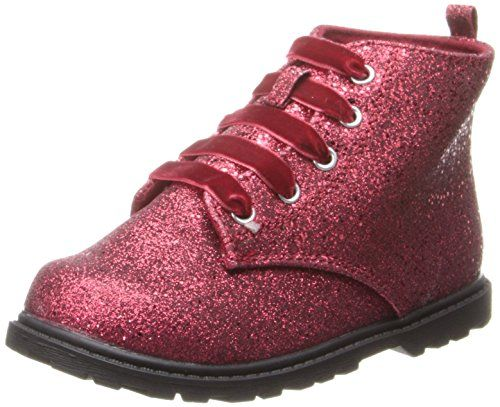 Natural Steps Flash Bootie (Infant/Toddler/Little Kid),Red Glitter,2 M US Infant. Lace up. Padded sock.