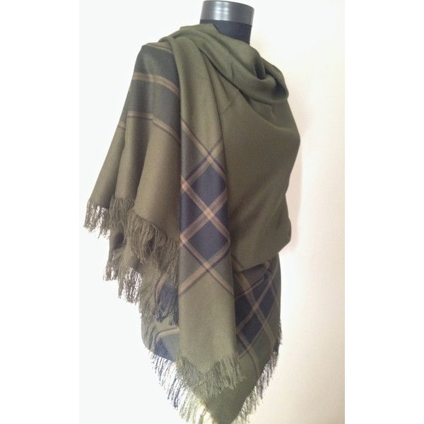 Green Tartan Plaid Blanket Scarf, Khaki Unisex Winter Scarf, Casual... ($23) ❤ liked on Polyvore featuring accessories, scarves, green shawl, oversized blanket scarf, holiday scarves, tartan shawl and tartan blanket scarf