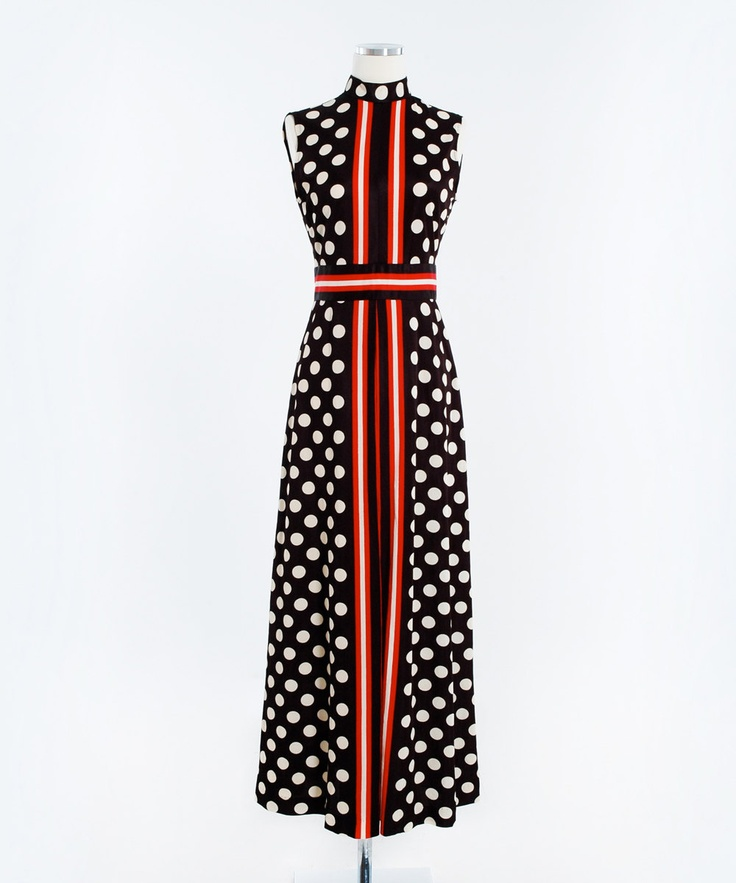 vintage 60s polka dot art deco black white and red Maxi Dress: Red Maxi Dresses