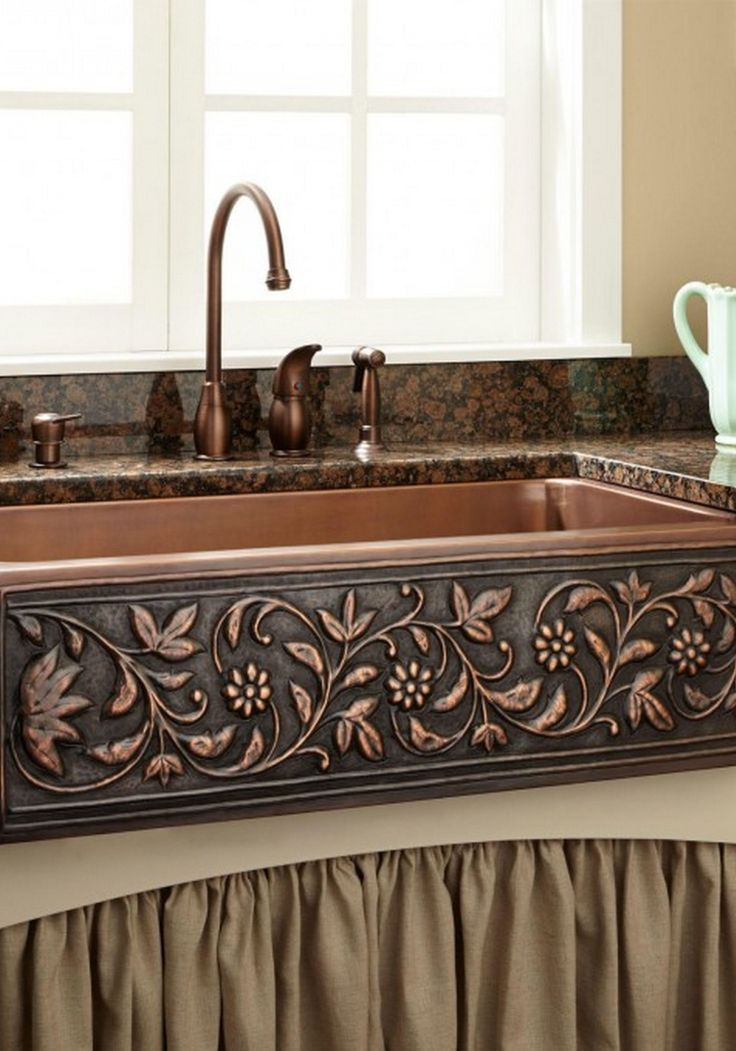 Add a touch of natural beauty to your kitchen with this copper farmhouse sink. Pair it with a rustic kitchen faucet for a shabby chic style that will enhance your home.