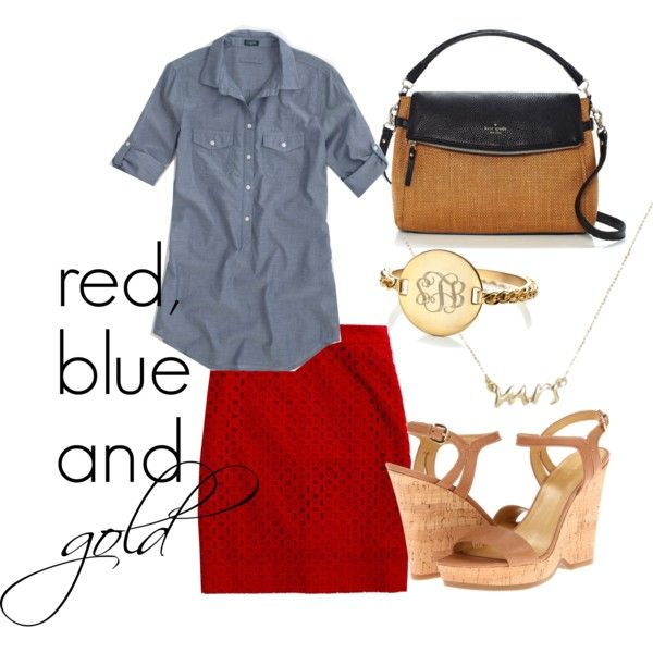 Summer outfit for work. Red skirt! Must