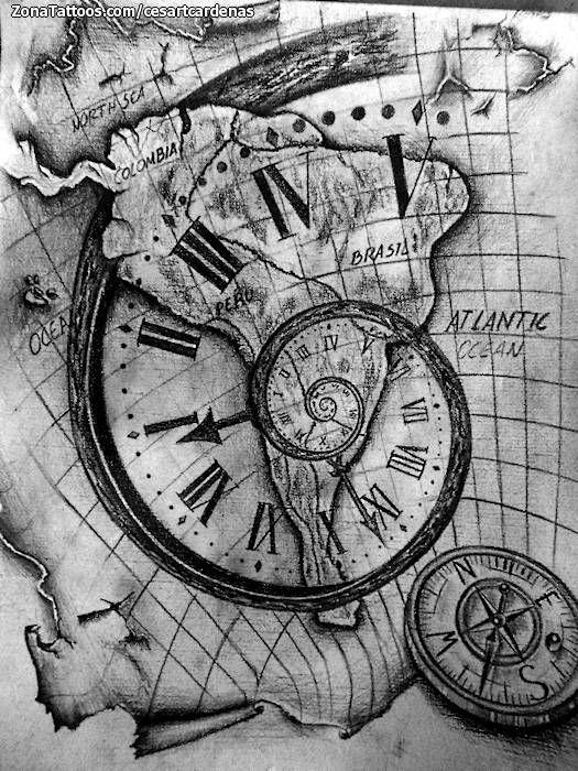 dise o de espirales relojes mapas tattoo tatoo and tatoos. Black Bedroom Furniture Sets. Home Design Ideas