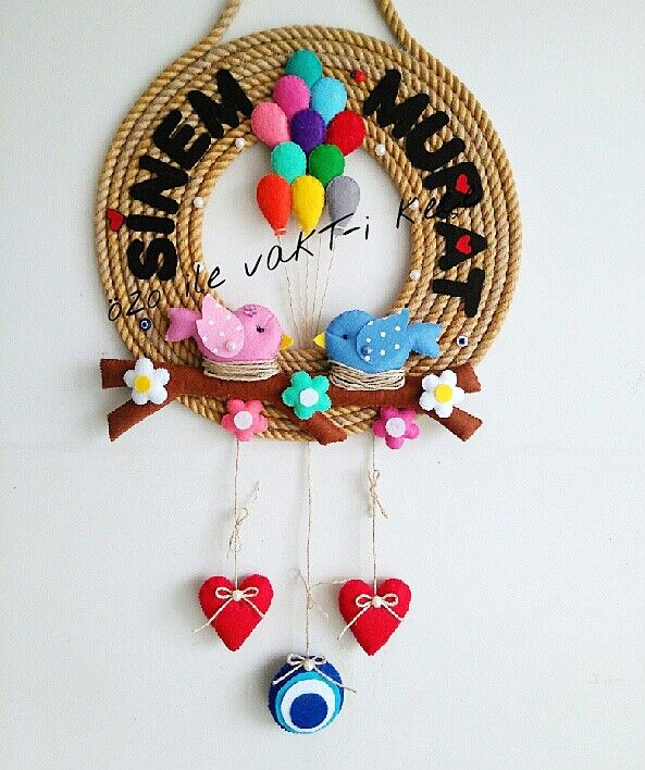 Halat kapı süsü keçe aşık kuş dal çiçek keçe sarkıt süsker kalp nazar boncuğu