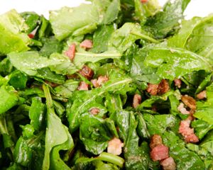 Paula Deen's wilted spinach bacon salad, always a hit