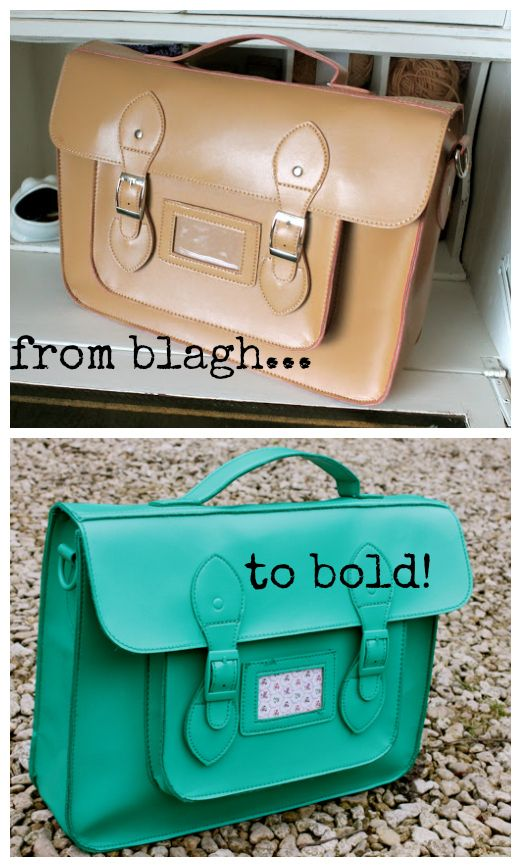 Upcycle: Old satchel + awesome spray paint = bold loveliness!