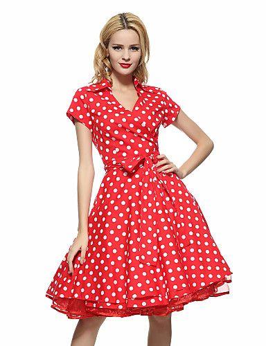 Vrouwen Grote maten / Nette schoenen / Werk Vintage Wijd uitlopend Jurk Polka dot-Overhemdkraag Tot de knie Korte mouwBlauw / Roze / Rood 5187568 2017 – €28.41