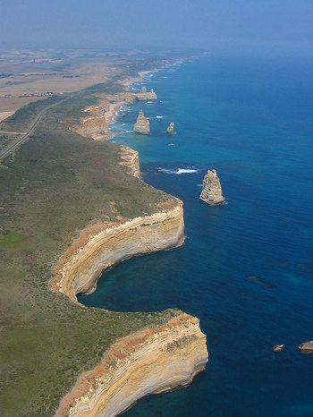 Great Ocean Road - is stunning. Incredible sheer drop right down into the ocean. Take a quick helicopter ride - http://www.12apostleshelicopters.com.au/