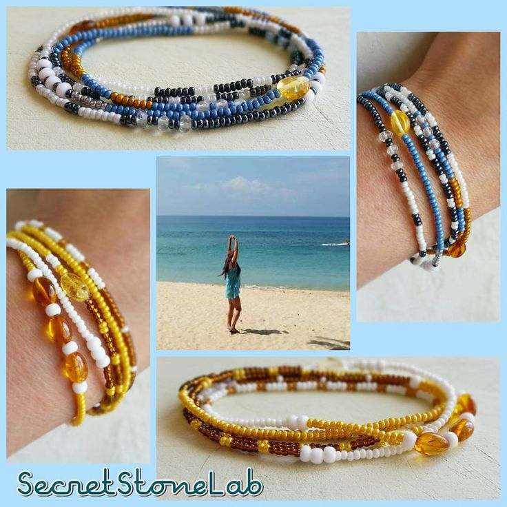 Strech Summer Boho Bohemian Style Multifunctional Necklace, Set of Bracelets, Hair Rim, Leg Bracelet, Yellow White Blue Sea Ocean Sun Beach